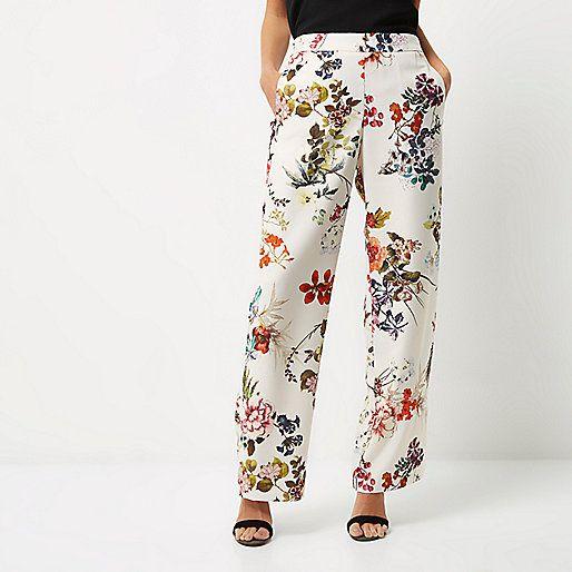 White Floral Print Wide Leg Trousers Pantalon Floral Prints