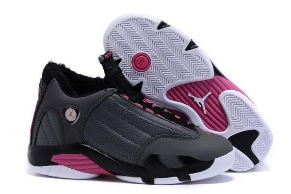 cf71c459ccd0 Original Air Jordan 14 Retro GS Hyper Pink Metallic Dark Grey Black White  Plus Velvet 654969 028 For Sale