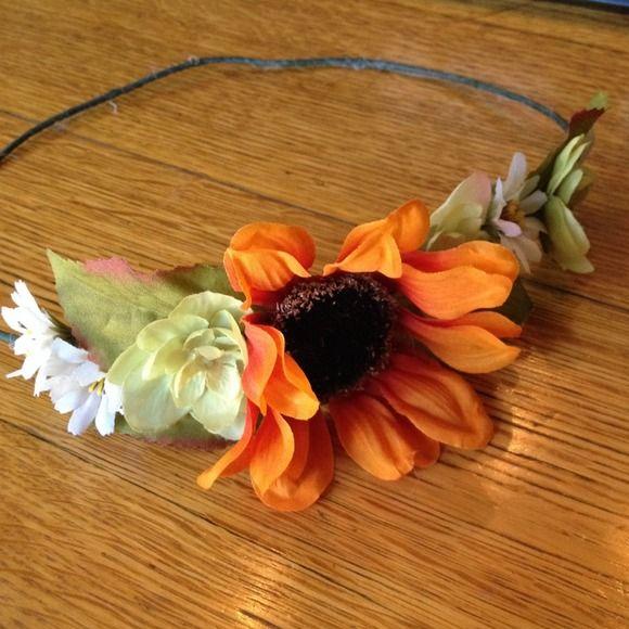Flower headband Sunflower headband! Orange sunflower with white and green surrounding flowers Accessories Hair Accessories