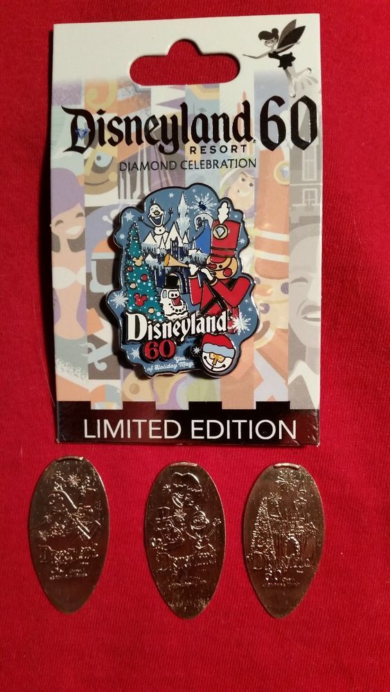 LE Only 3000 Disneyland Diamond Decades Holiday Pin + Retired Holiday pennies