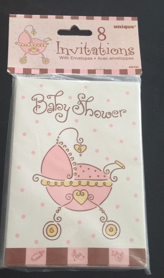 Baby Girl Baby Shower Invites Vtg Style Buggy Pink Brown 8 Cards 8 ...