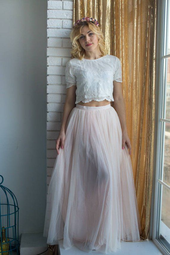 11fff813bfa7 Bridesmaids Tulle Skirt Top set, Long Tulle Skirt, Lace Crop Top, Bridal  Party skirts, Floor length skirt, Blush skirt, Bridesmaids outfits