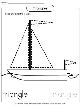 Worksheets Triangles Worksheet shape worksheet for young children trace the triangles and color sailboat