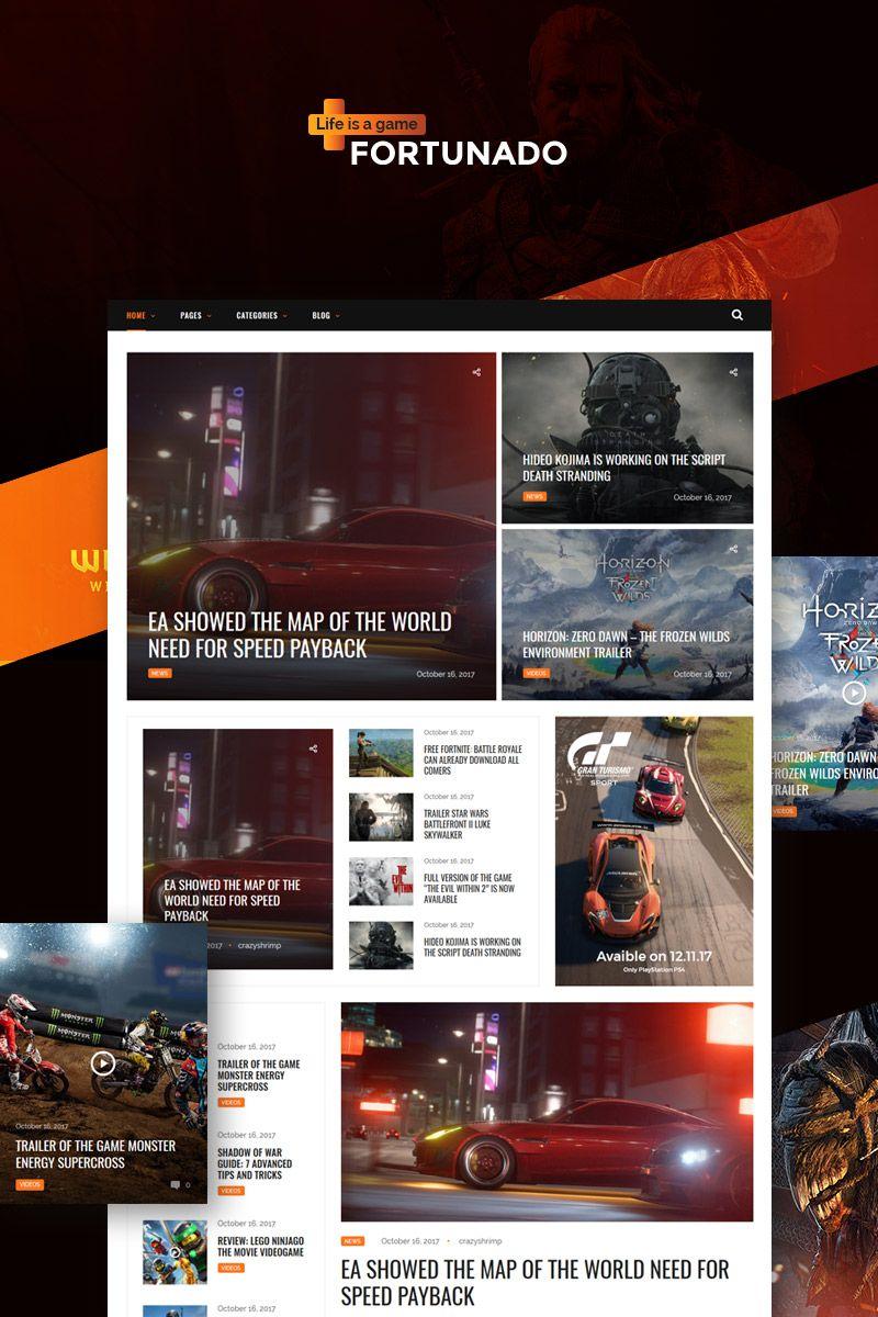 Fortunado Gamer Responsive Wordpress Theme Wordpress Theme Portal Design Web Design Software