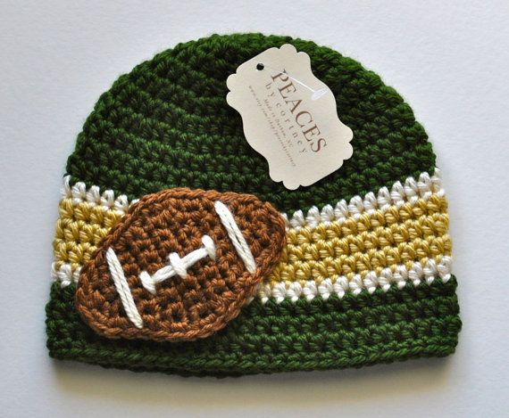 add490a8 Football Baby Hat - Green, White, and Yellow (skull cap beanie) | Oh ...
