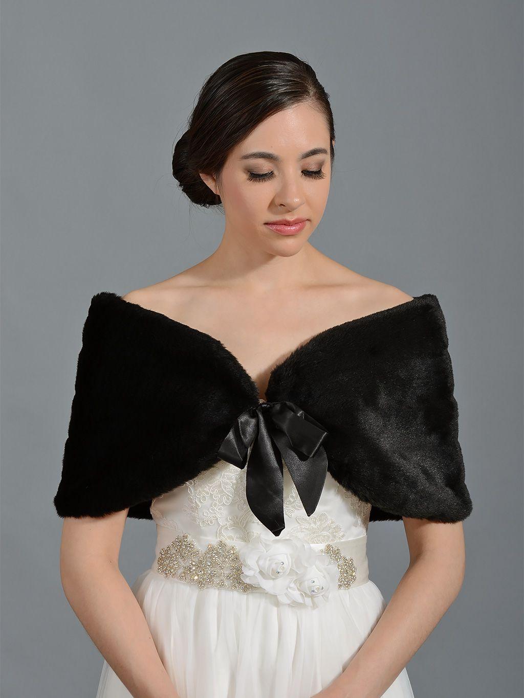 Black faux fur wrap bridal shrug stole shawl cape bridal