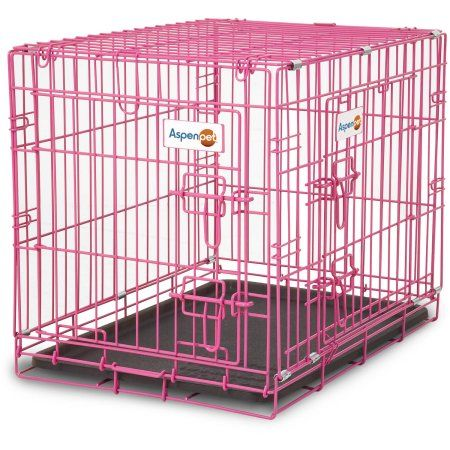 Pink Crate Dog Cage Pet Safe Travel Small Animal Kennel Puppy Cat Carrying 24/""
