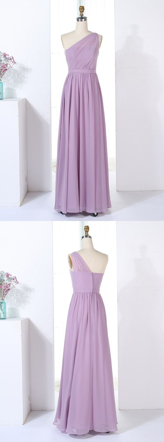 Lavender long bridesmaid dresseselegant one shoulder wedding party