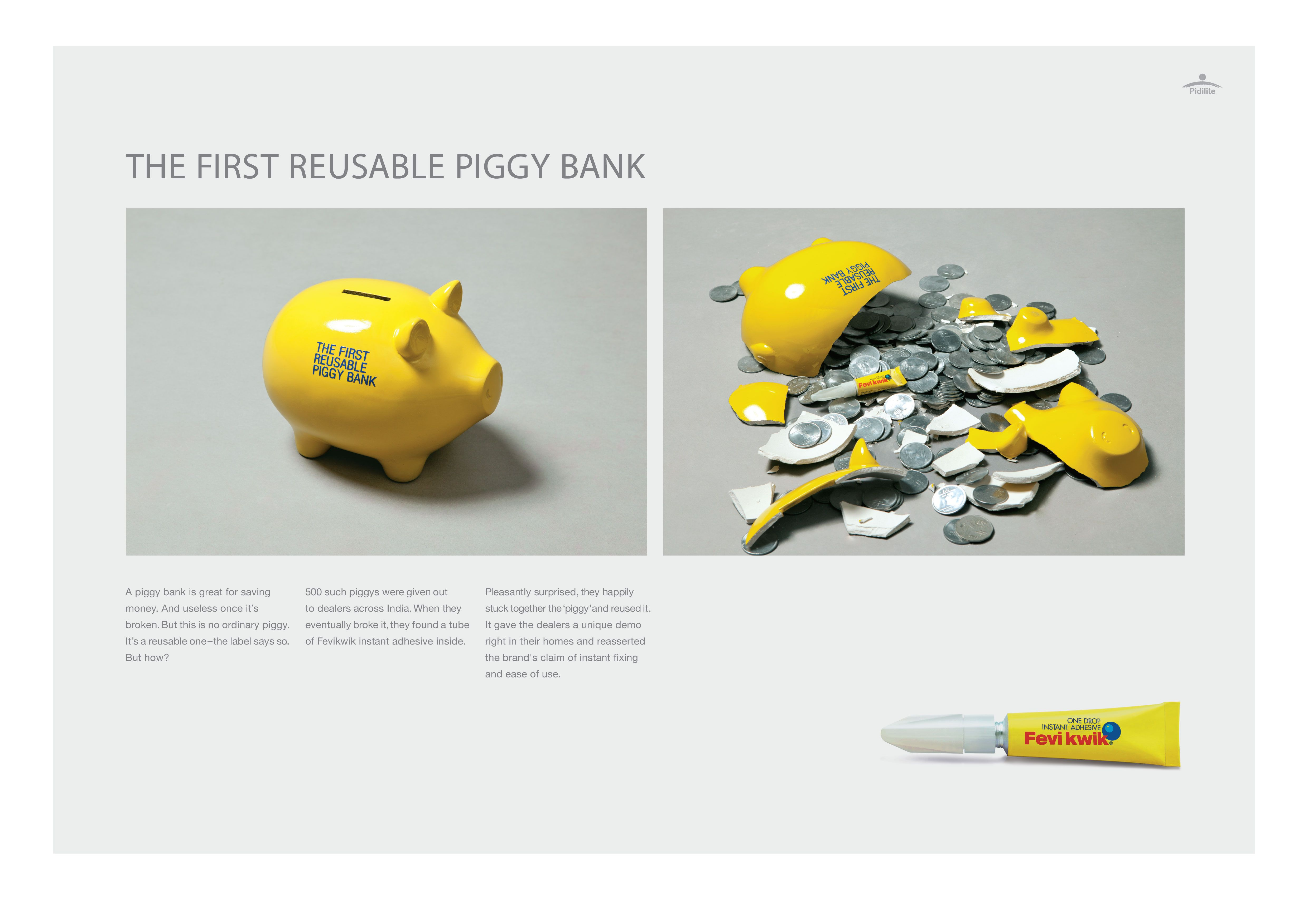Outdoor ad Fevikwik The First Reusable Piggy Bank (With