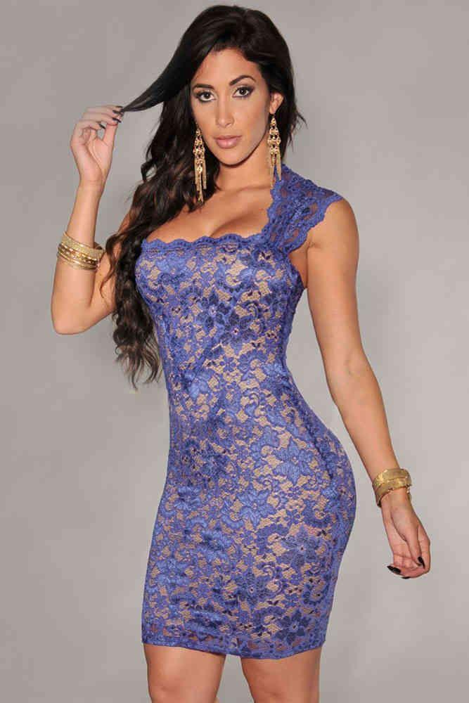 Minivestido puntilla Blue Nude Effect. Vestidos sexys a un click ...
