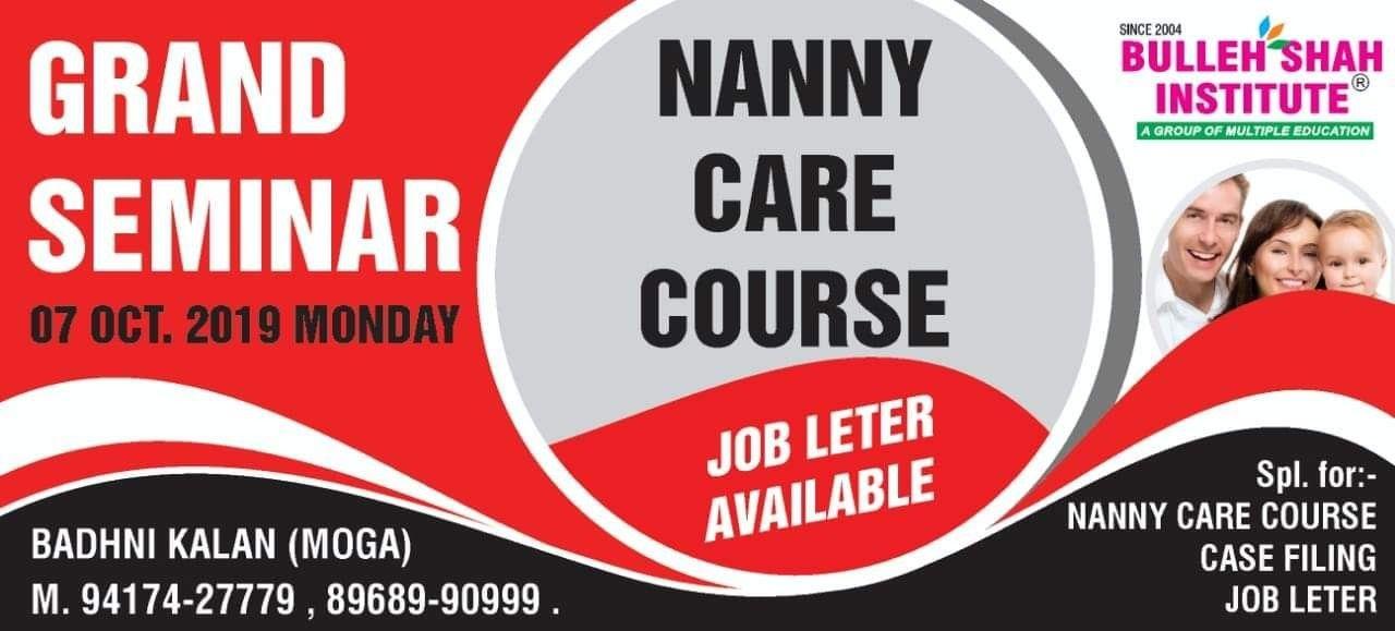 GRAND SEMINAR on 07 Oct. 2019 Nanny Care Course Job Letter