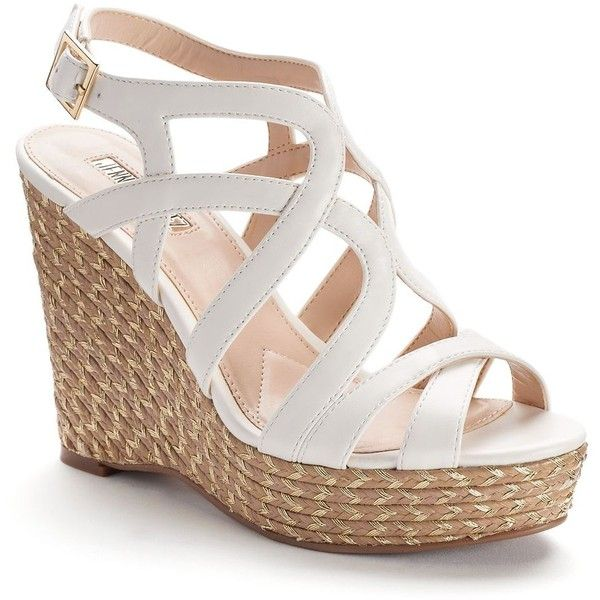 abc461c34 Jennifer Lopez Women's Espadrille Wedge Sandals ($50) ❤ liked on Polyvore  featuring shoes, sandals, white, espadrille sandals, white wedge espadrilles,  ...