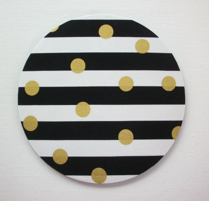 Mouse Pad mouse pad / Mat - Black and white stripes with gold