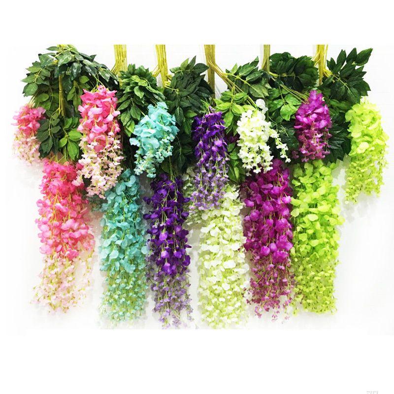 Artificial Wisteria Fake Garden Hanging Flower Plant Vine Wedding Home Decor