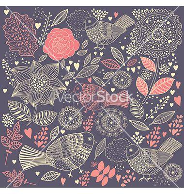Floral doodle background vector by MoleskoStudio on VectorStock®