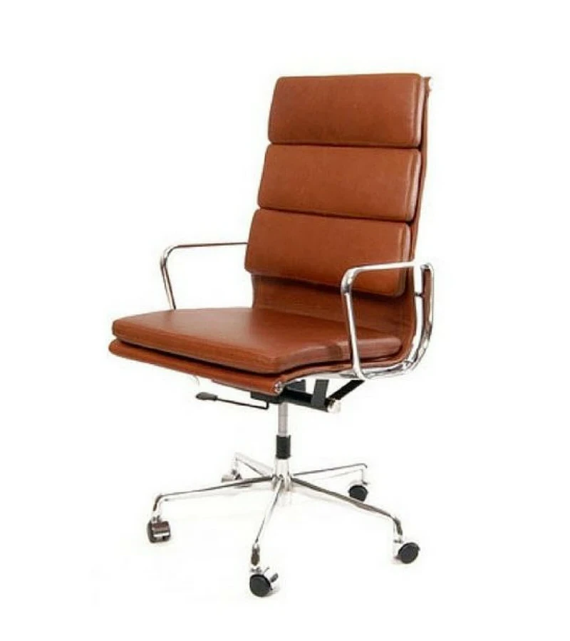 219 Style Aluminium Executive Chair in Aniline Leather in