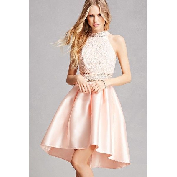 Forever21 Soieblu Taffeta High-Low Dress ($65) ❤ liked on Polyvore featuring dresses, blush, sheer dress, pink high low dress, transparent dress, pink a line dress and a line dress