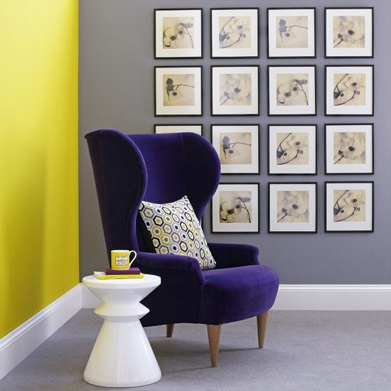 Yellow Colour Wall On Only One Side And Purple Chair Shows More Impact Than Grey Living Room Moreover Many Flames The