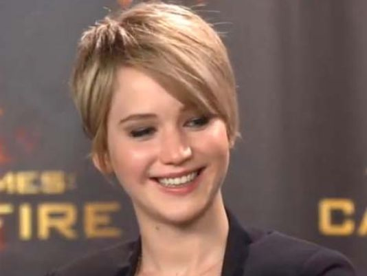 Jennifer lawrence cuts off her long hair chat photo jennifer jennifer lawrence short hair 2013 jennifer lawrence smiles during her global fan chat urmus Image collections
