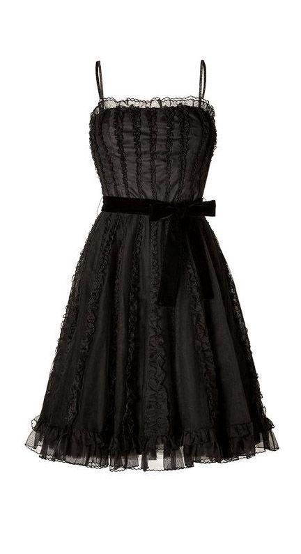 Valentino Red Black Black Ruffled Dress with Velvet Belt