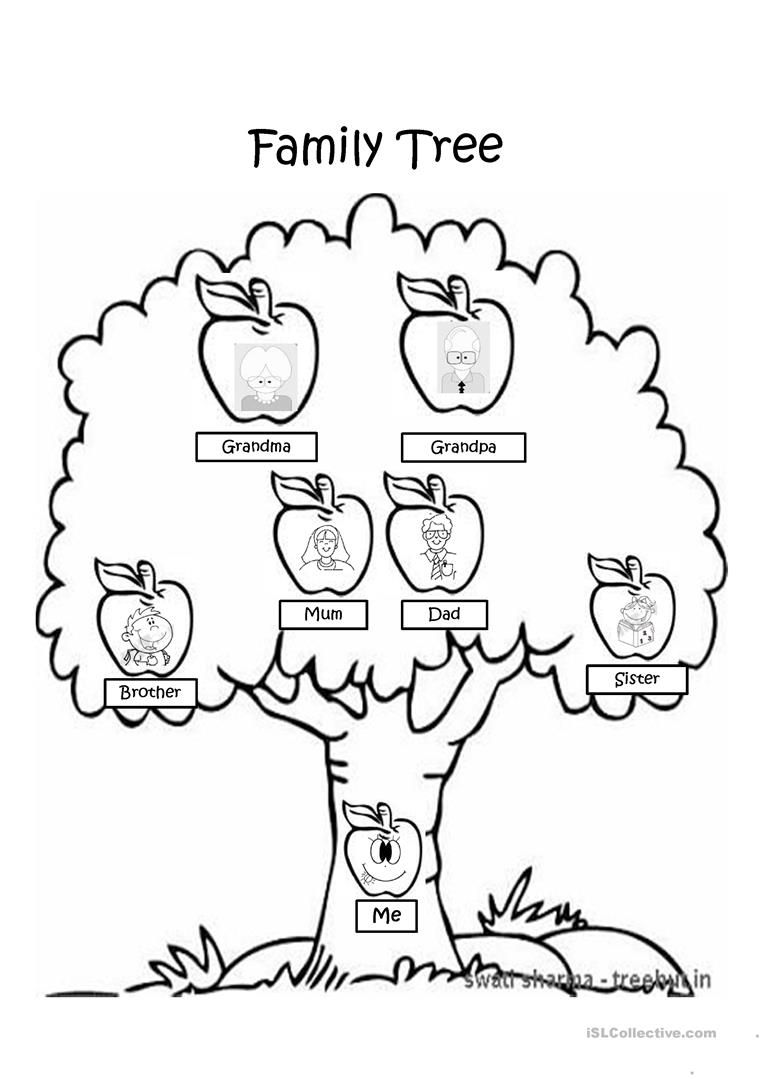 Family Tree Coloring Pages  Family tree worksheet, Family tree