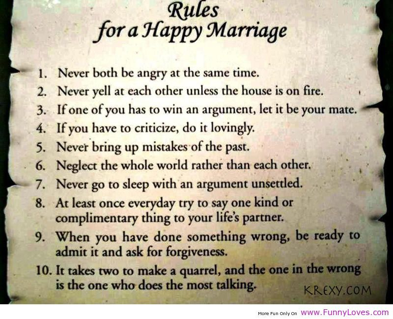 marriage recipe quotes Rules for a happy marriage funny