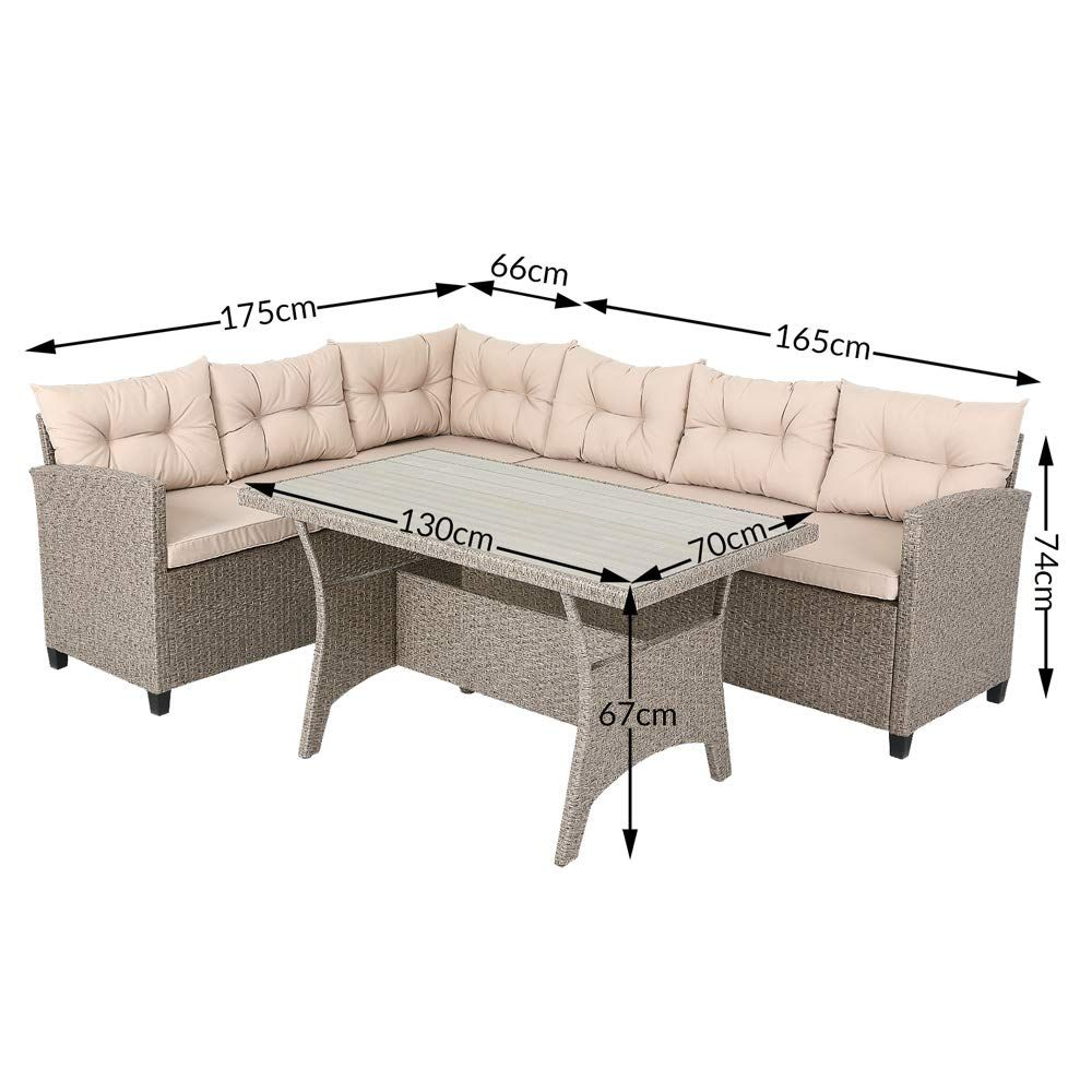 New Poly Rattan Corner Sofa Set Conservatory Patio Outdoor Garden Furniture Lounge With Wpc Table Rattan Corner Sofa Corner Sofa Dining Table Furniture