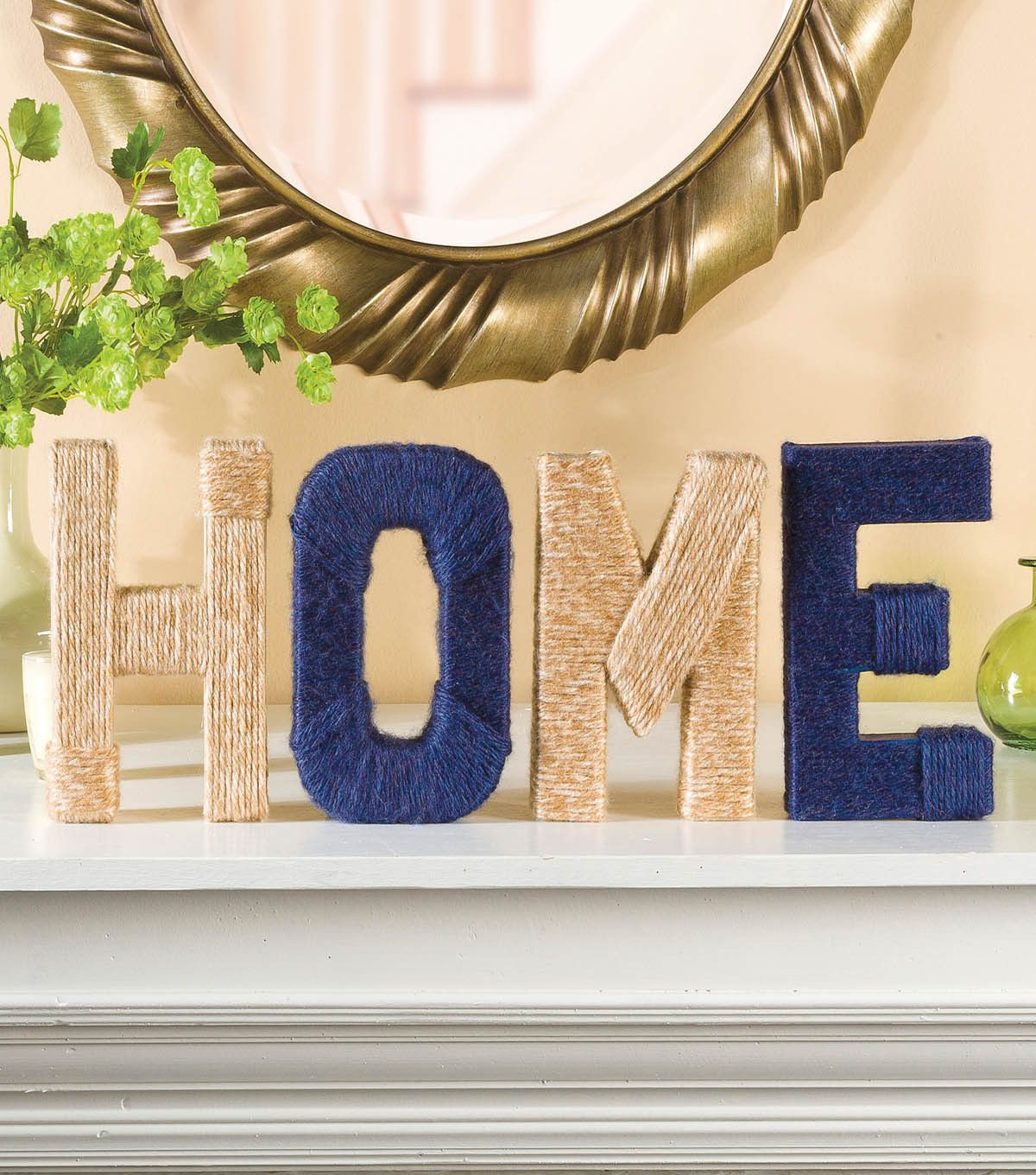Create A Home Letter Decoration With Cardboard Letters And Yarn   Free  Instructions