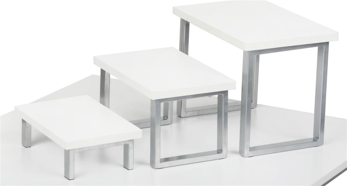 These Nesting Table Risers Are Stacking Displays For Tabletops In Store Settings Showcase Merchandise Using The Display Risers Stack Displays Retail Furniture
