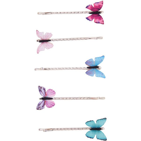 20a31f202f0a9 Accessorize 5x Printed Butterfly Hair Grips ( 12) ❤ liked on Polyvore  featuring accessories
