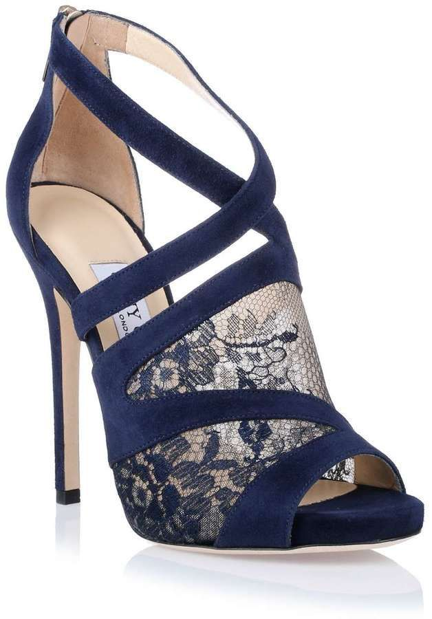 ShopSavannahs - Jimmy Choo Vantage navy lace sandal | Navy lace ...