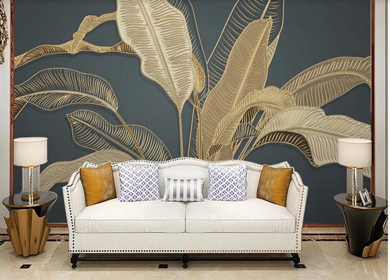 Luxury Gold Banana Leaf Wallpaper 3d Big Banana Leaves Wall Murals Wall Decor In 2021 Leaf Wallpaper Banana Leaf Wallpaper Wallpaper Walls Bedroom