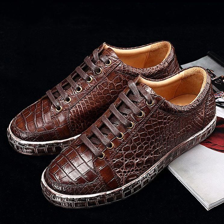 7f6d26d702f0 Classic Alligator Leather Sneakers Low Top Mens Fashion Alligator Sneakers   MensFashionSneakers