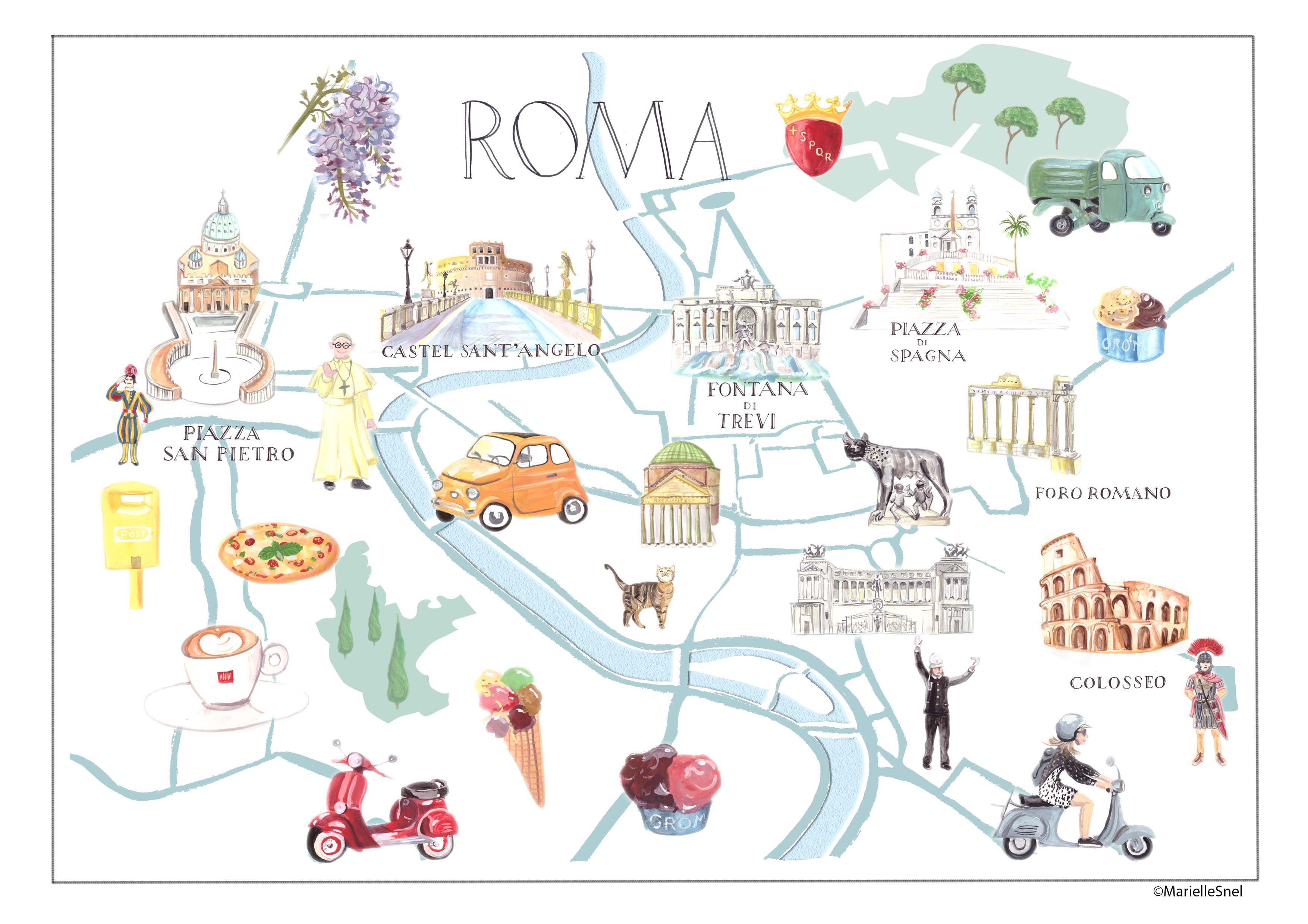 Rome On Map Of Italy.The City Of Rome Italy Ciao Roma Illustrated Map For Tiramisushi