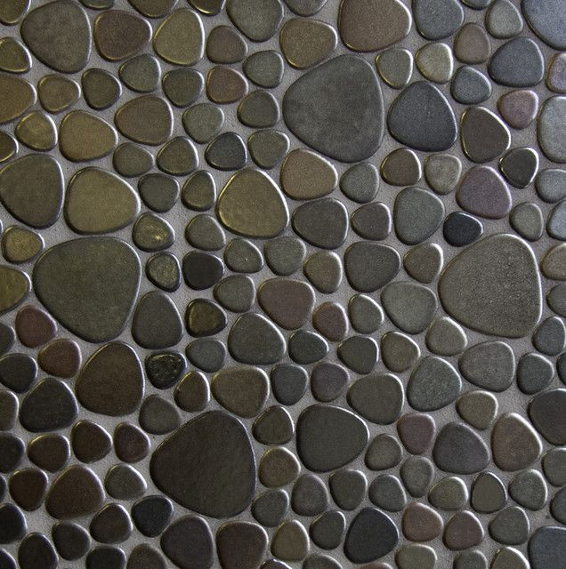 Pebble tile shower floor and