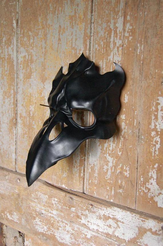 Leather mask of gothic black raven skull, crow, corvid