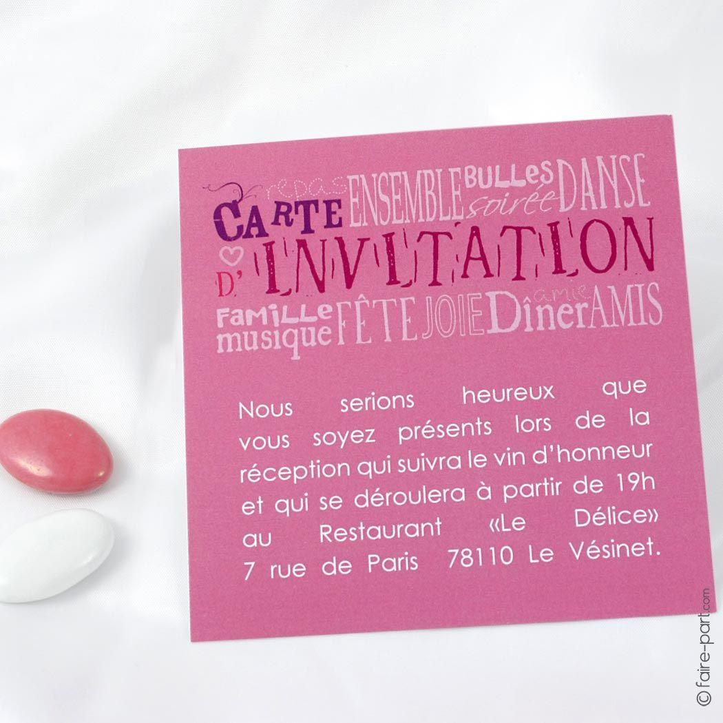 carte invitation jeu de mots rose jeu de mot carte invitation et invitation mariage. Black Bedroom Furniture Sets. Home Design Ideas