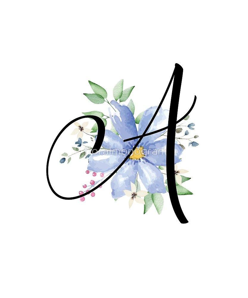 Monogram A Beautiful Watercolor Blue Flower Sticker By Floralmonogram Watercolor Monogram Monogram Wallpaper Blue Flower Wallpaper