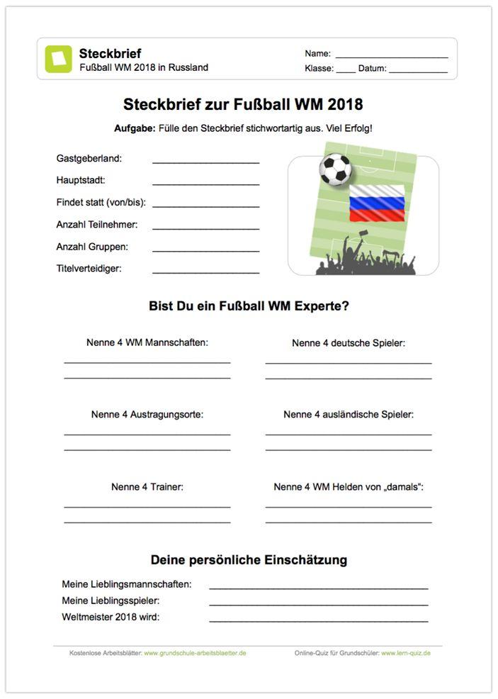neu ein kostenloses arbeitsblatt zur fu ball wm 2018 in russland mit einem steckbrief zur. Black Bedroom Furniture Sets. Home Design Ideas