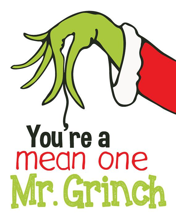 You\'re a Mean One Mr. Grinch / Word Art Typography Subway / Wall Art ...