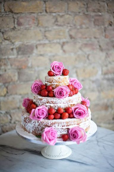 Naked Wedding Cake With Strawberries & Pink Roses
