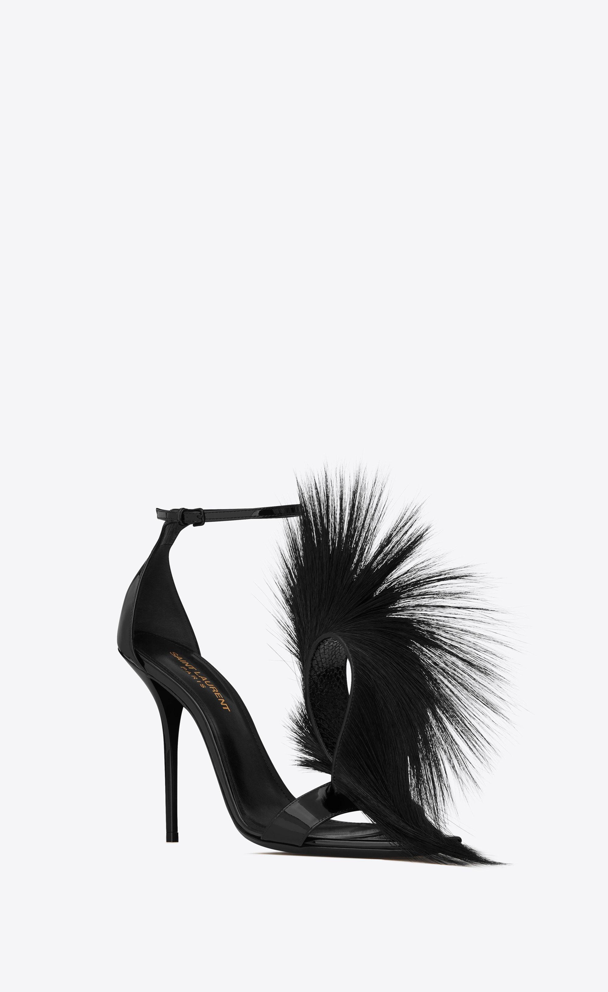 2935b5fa72 Saint Laurent - Jamie sandal in patent black leather and faux fur ...