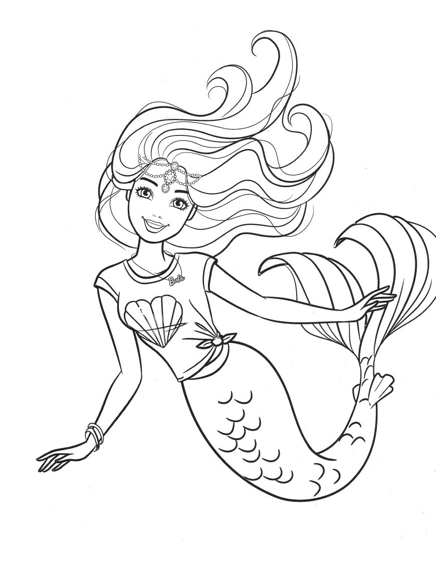 Barbie Mermaid Coloring Page In 2020 Unicorn Coloring Pages Mermaid Coloring Pages Barbie Coloring Pages
