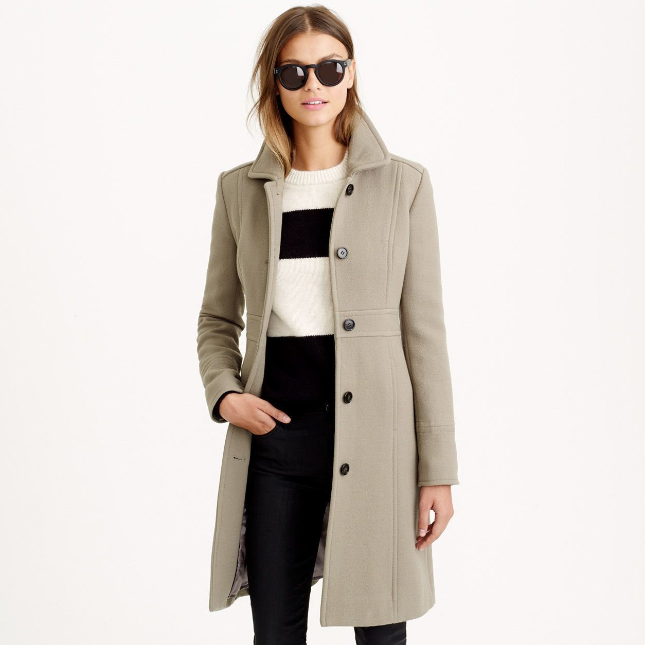 ec0542e3870c1 J.Crew Womens Petite Italian Double-Cloth Wool Lady Day Coat With  Thinsulate (Size 6 Petite)