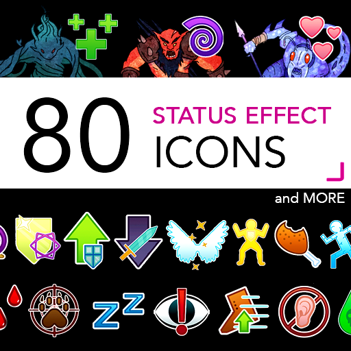 80 Status Effect Icons for RPGs such as DnD and Pathfinder