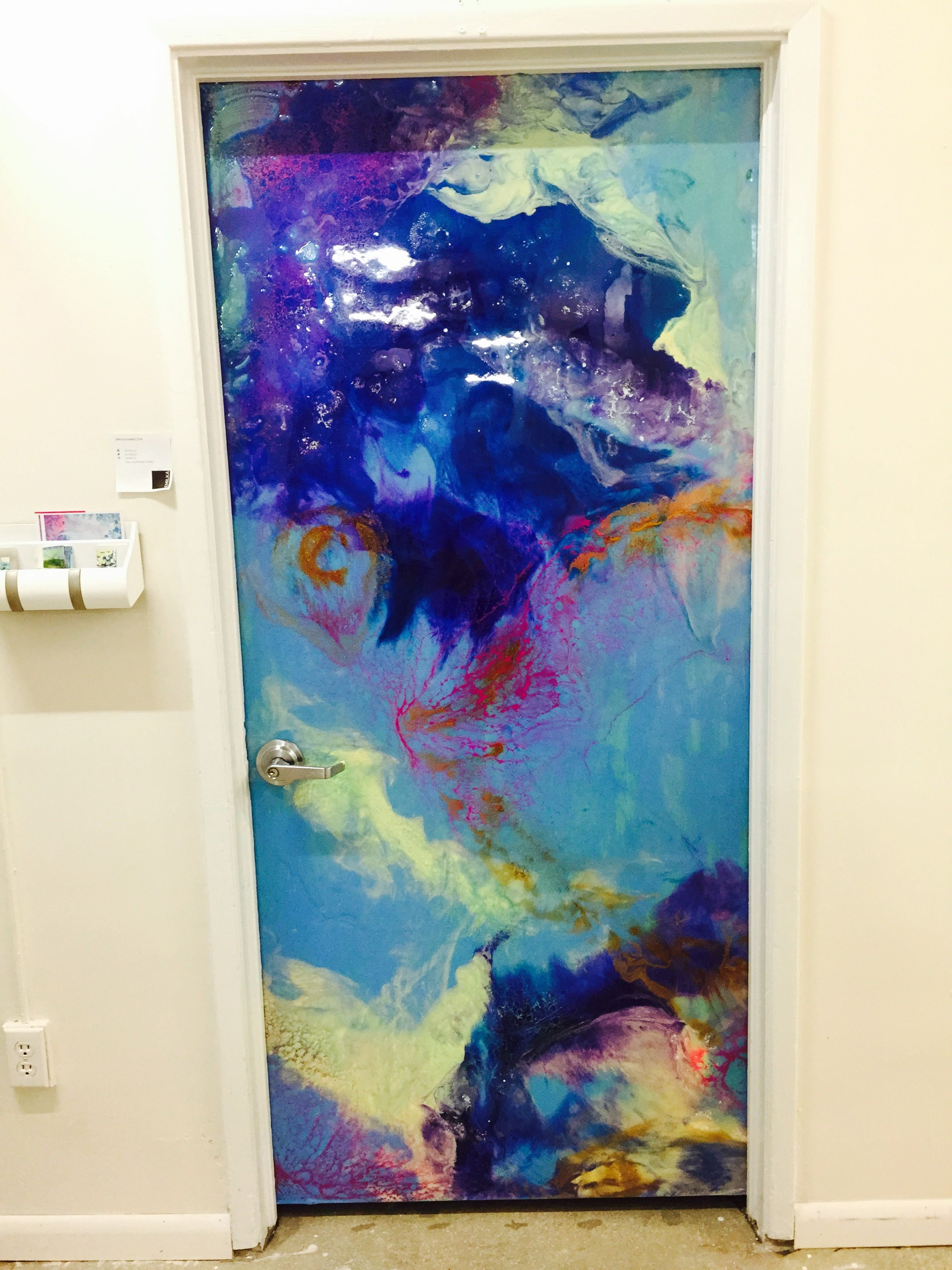 New painting - also a usable interior door! Acrylic, resin and house paint to create this 3d effect. Wonderful home design, or office decor. By Emilka