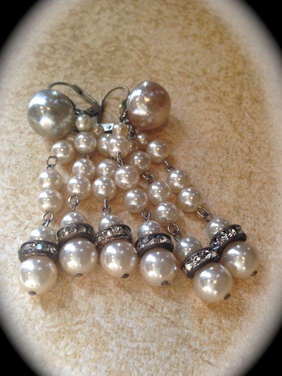 Vintage pearl chandelier tassel earrings by JNPVintageJewelry ...