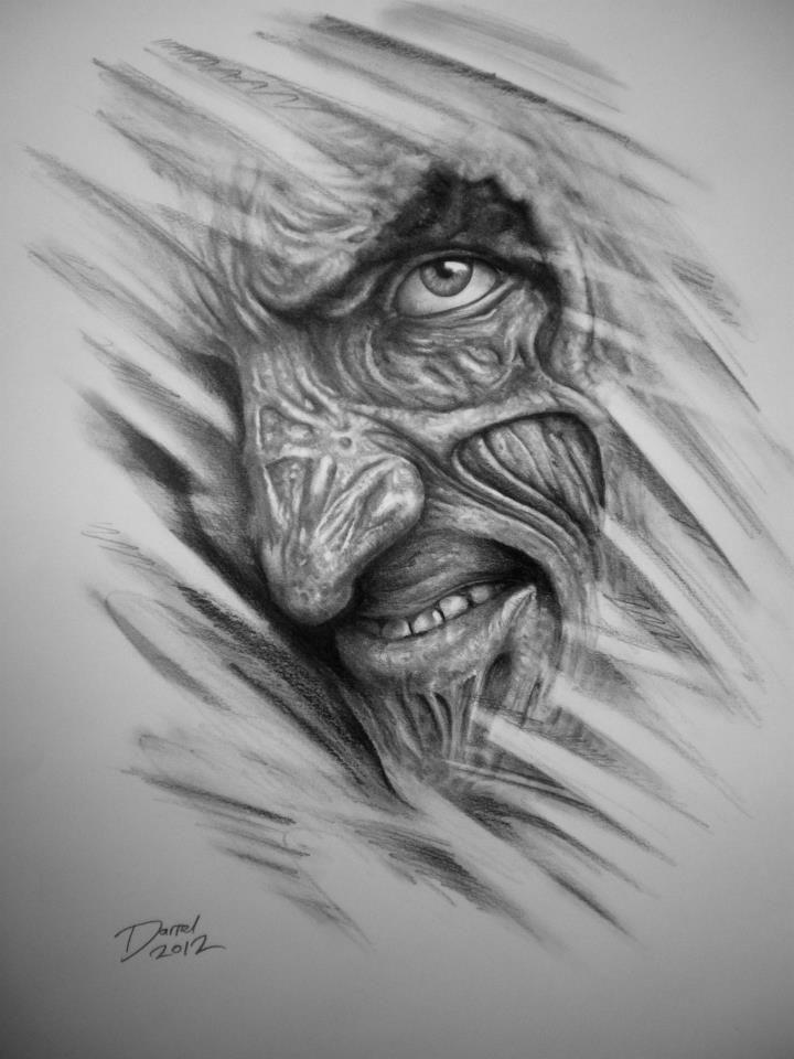 21d9398fa Robert Englund as Freddy Krueger   Darrel Bevan, Graphite Portrait ...