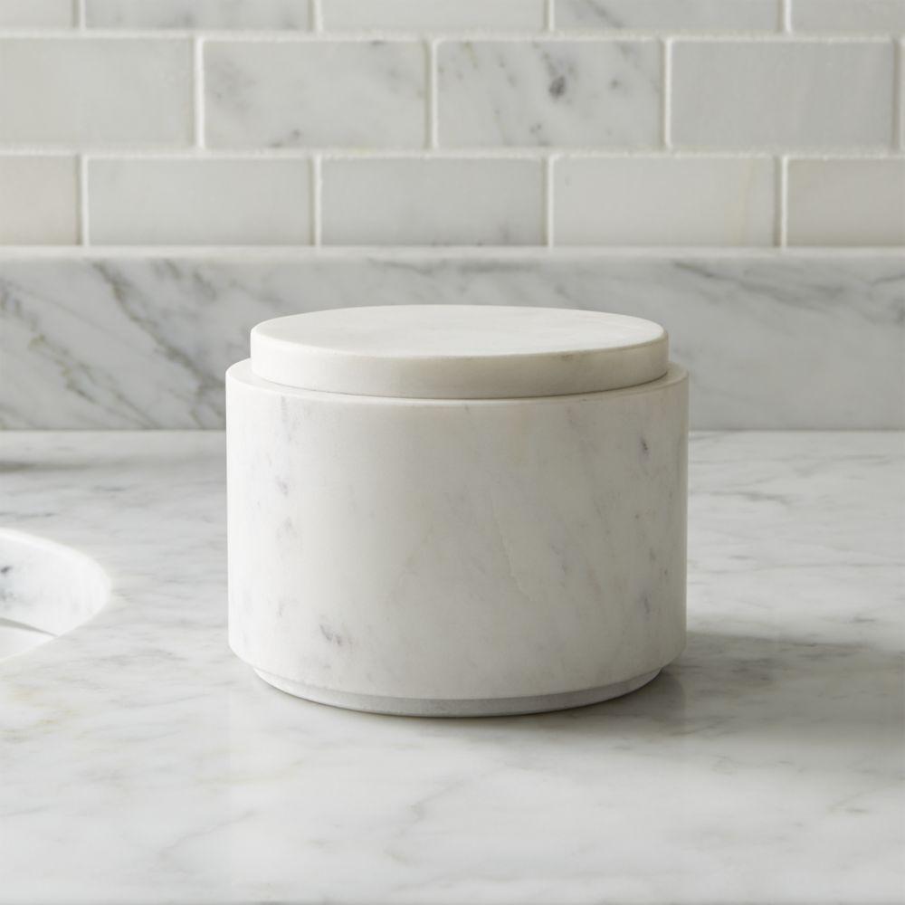 Bathroom Canister Graydon Large Marble Bathroom Canister  Crate And Barrel  Bathroom