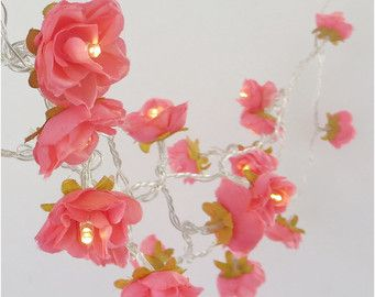 Deep coral pink shabby rose fairy lights pretty flower string lights deep coral pink shabby rose fairy lights pretty flower string lights nursery party lighting mightylinksfo Choice Image